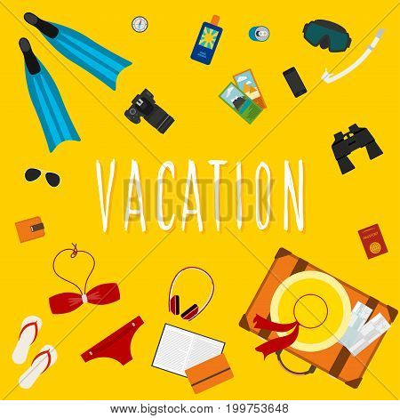 Vacation And Rest Theme Card Template. Flat Style Illustration