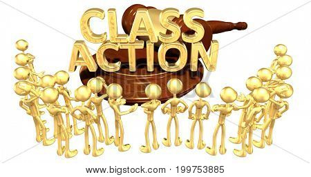 Class Action Law With The Original 3D Characters Illustration