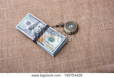 Pocket Watch Wrapped Around Us Dollar