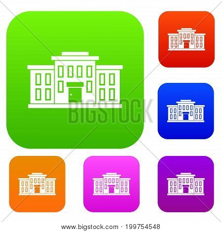 School building set icon in different colors isolated vector illustration. Premium collection
