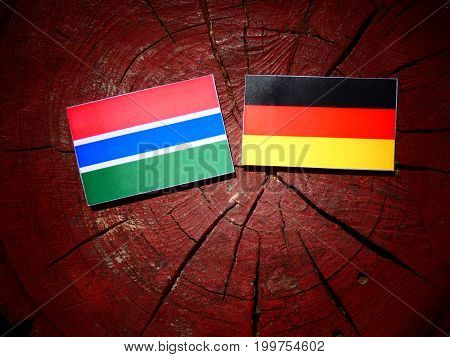 Gambian Flag With German Flag On A Tree Stump Isolated