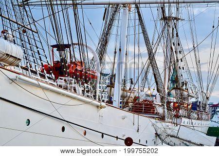close up three mast ship in Bergen Norway. Sail ship in Norway.  Close up ship