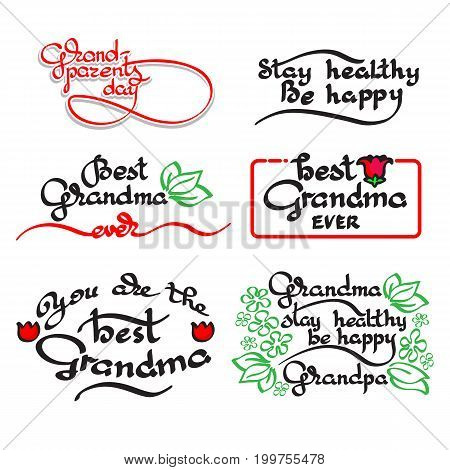 Grandma Grandpa handwritten lettering set. Vector greeting card with handwritten words and flowers isolated on white background. Retro label. Lettering composition. Postcard design.