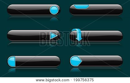 Black buttons with blue signs. Menu interface elements. Vector 3d illustration on blue background