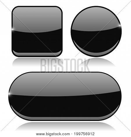 Black buttons. Round, square and oval shiny icons. Vector 3d illustration