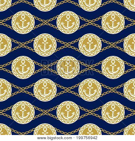 Seamless pattern with anchors and chains. Ongoing stripes background of marine theme blue and golden colors. Vector illustration