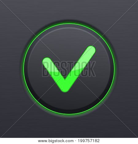 Black OK button with green check mark. Vector 3d illustration