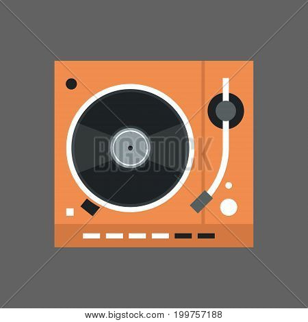 Gramophone Icon Vinyl Disk Recorder Audio System Flat Vector Illustration