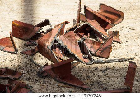 Scrap iron on floor in site construction