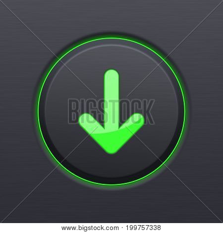 Black Download button with green down arrow. Vector 3d illustration