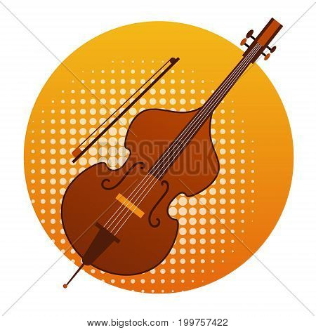 Cello Icon Violin Music Instruments Flat Vector Illustration