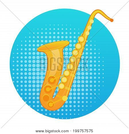 Saxophone Icon Wind Music Instrument Concept Flat Vector Illustration