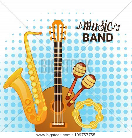 Music Band Instruments Set Banner Musical Concert Poster Concept Flat Vector Illustration