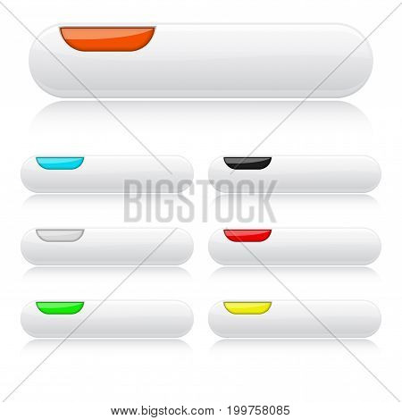 White glossy buttons. Oval colored web icons with reflections. 3d Vector illustration on white background