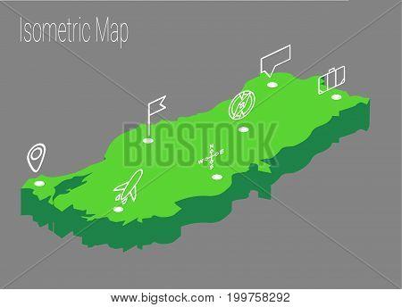 Map Turkey isometric concept. 3d flat illustration of Map Turkey