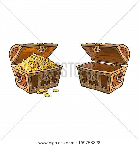 vector wooden treasure chest set. Isolated illustration on a white background. Opened, full of golden coins and opened empty box. Flat cartoon symbol of adventure, pirates, risk profit and wealth.