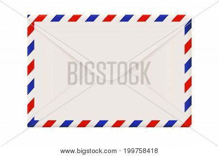 Envelope backside. International air mail with red and blue frame. Vector 3d illustration isolated on white background