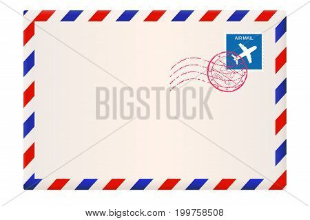 Envelope. International air mail with red and blue frame. Vector 3d illustration isolated on white background
