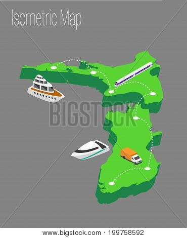 Map new Zealand isometric concept. 3d flat illustration of Map new Zealand.