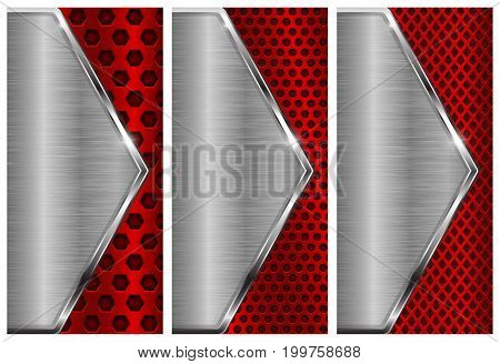 Metal brushed background with perforation. Red and silver flyer templates. Vector 3d illustration