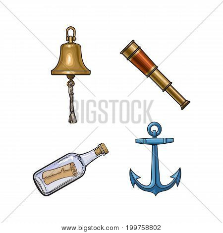 Set of nautical objects - ship bell, anchor, telescope, message in bottle, cartoon vector illustration isolated on white background. Cartoon set of ship anchor, bell, telescope and message bottle