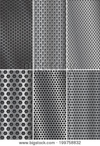 Collection of metal backgrounds. Perforated steel textures. Flyer templates. Vector 3d illustration