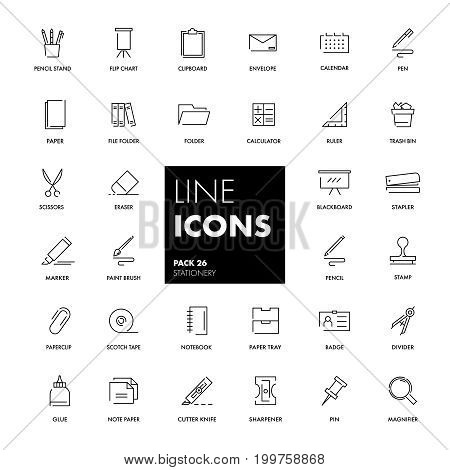 Line icons set. Stationery pack. Vector illustration.