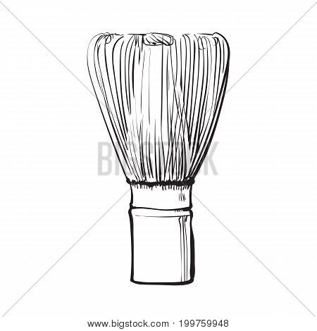 Side view drawing of wooden whisk for matcha tea preparation, sketch style vector illustration isolated on white background. Realistic hand drawing of bamboo whisk for matcha