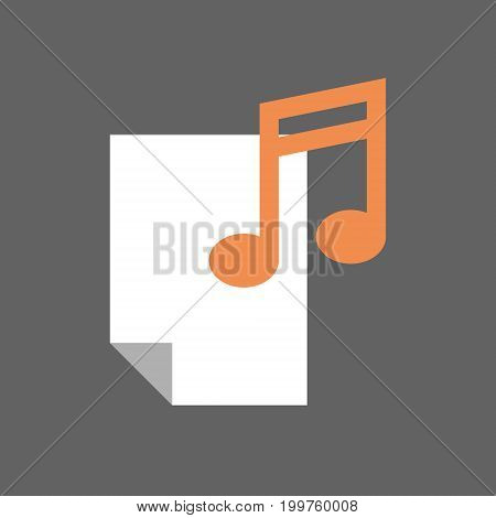 Sheet With Note Musical Sign Icon Music File Concept Flat Vector Illustration
