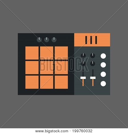 Music Mixer Icon Sound Studio Equalizer System Concept Flat Vector Illustration