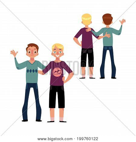 Male friendship concept, couple of boys, best friends hugging each other, cartoon vector illustration isolated on white background. Set of boys, men, friends standing and hugging each other
