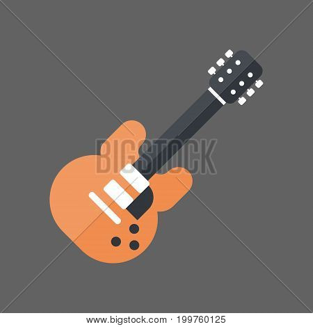 Electric Guitar Icon Music Instrument Concept Flat Vector Illustration