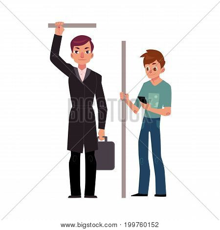 Two men, male passengers in subway - businessman and student with smartphone, cartoon vector illustration isolated on white background. Subway passengers standing in subway, student and businessman