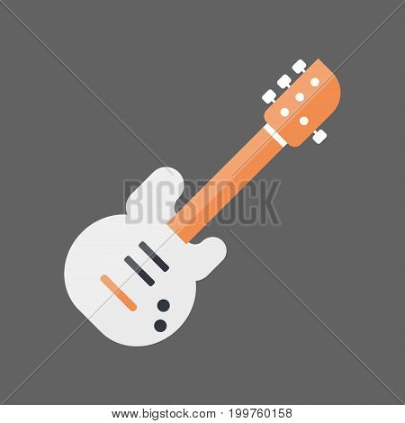 Bass Guitar Icon Music Instrument Concept Flat Vector Illustration
