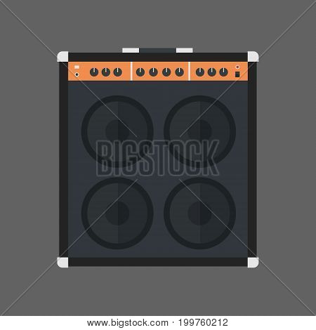 Music Speakers Icon Column Stereo System Concept Flat Vector Illustration