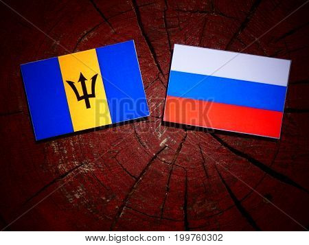 Barbados Flag With Russian Flag On A Tree Stump Isolated
