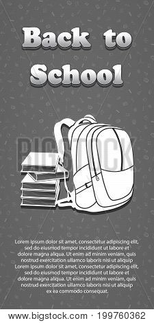Vector design template for Back to school. Seamless pattern background with school supplies drawing icons. 3d text Back to school. Books and backpack symbol.
