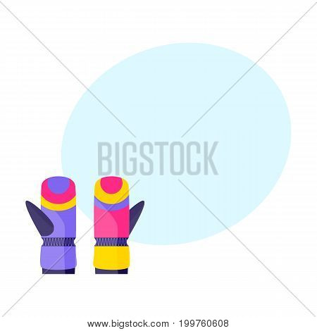 Pair of skiing, snowboarding gloves, winter sport clothing, flat style vector illustration. Flat vector skiing, snowboarding, winter sport gloves, mittens, colorful illustration with space for text.