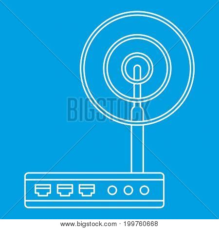 Wifi router icon blue outline style isolated vector illustration. Thin line sign