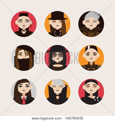 Vector set with avatars of gothic man in hats with dark hair and colored eyes lens in circle shapes. Different young men isolated on bright background.