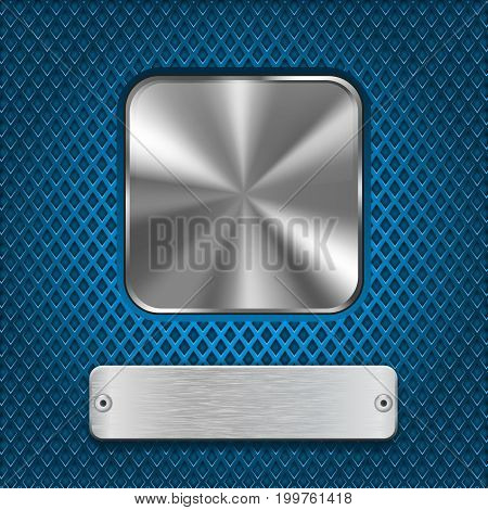 Metal square button and rivetted steel plate on blue perforated background. Vector 3d illustration