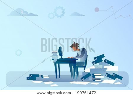 Business Man Working On Computer Overloaded Documents Paperwork Problem Concept Flat Vector Illustration