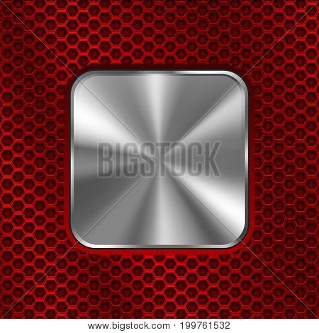 Metal square button on red perforated background. Vector 3d illustration
