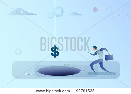 Business Man Run To Dollar Sign Falling In Hole Finance Crisis Concept Flat Vector Illustration