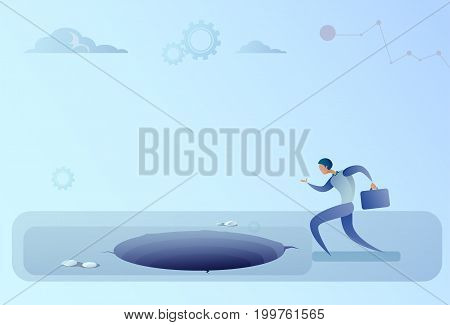 Business Man Run In Hole Problem Finance Crisis Concept Flat Vector Illustration