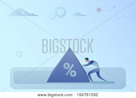 Business Man Pushing Percent Sign Debt Credit Finance Crisis Concept Flat Vector Illustration