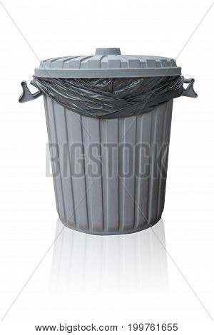 Trash Bin Plastic Recycle Bin With Black Trash Bag Inside Isolated On White