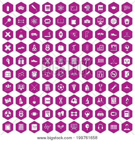 100 college icons set in violet hexagon isolated vector illustration