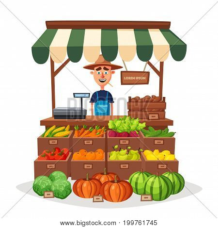 Farm shop. Local stall market. Selling vegetables. Cartoon vector illustration. Isolated on white background. Fresh food