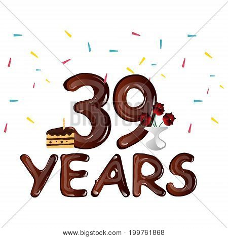 Happy Birthday thirty nine 39 year. Vector illustration